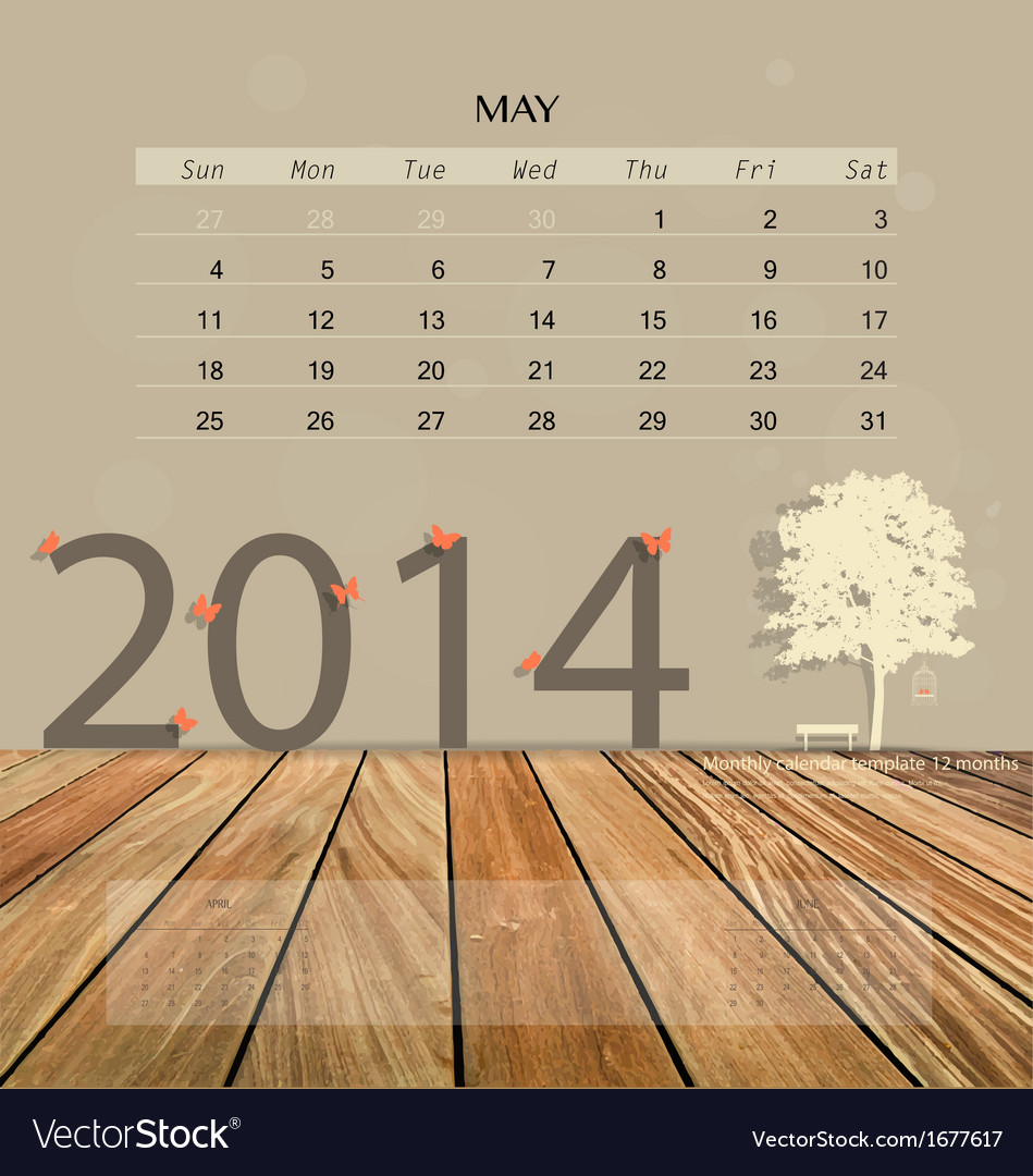 2014 calendar monthly calendar template for may vector | Price: 1 Credit (USD $1)