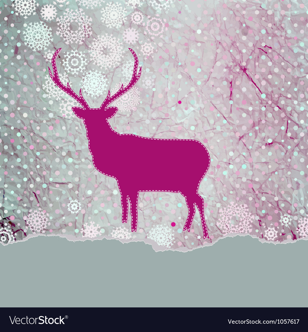 Christmas reindeer card vector | Price: 1 Credit (USD $1)