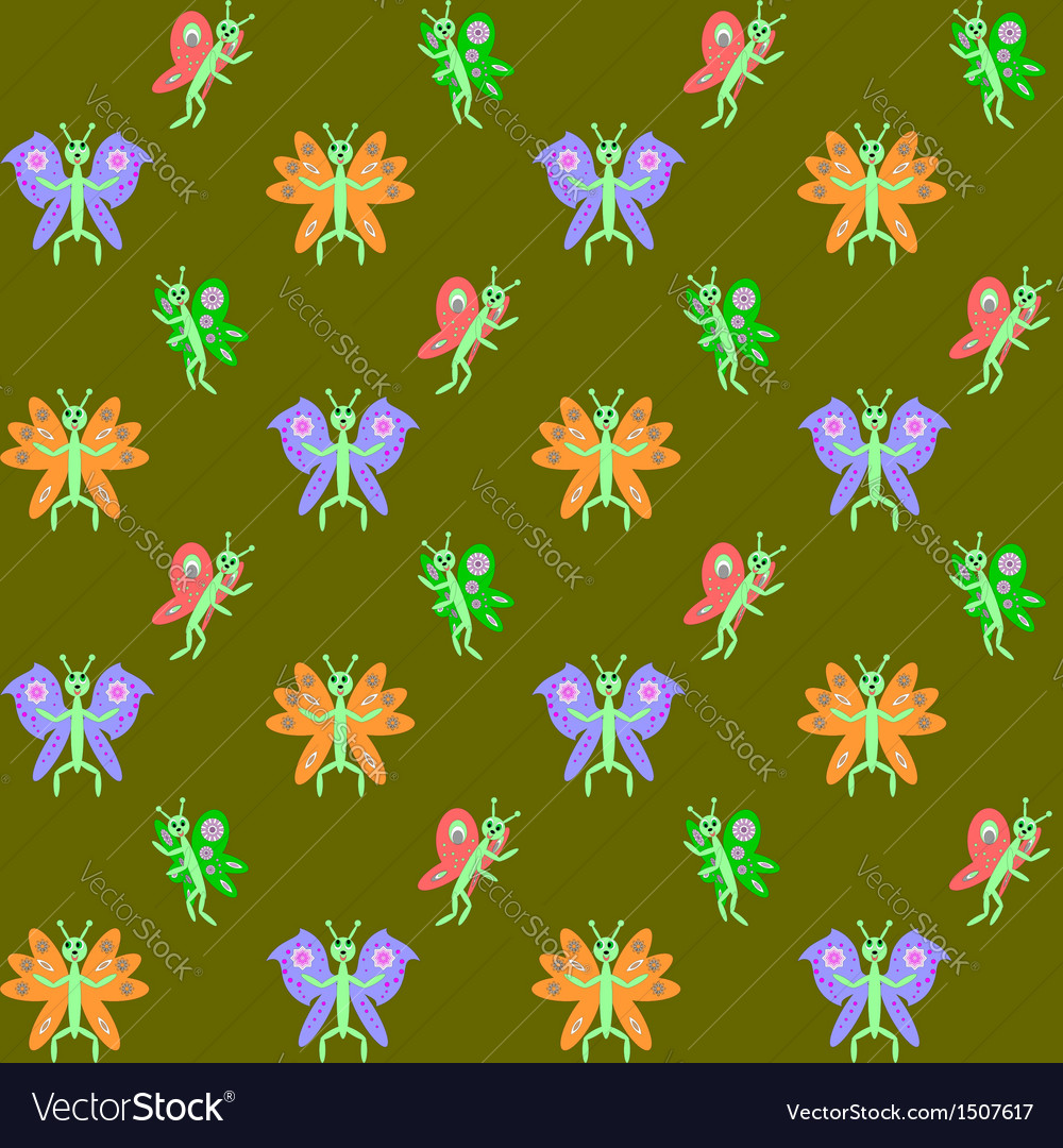 Design seamless butterflies pattern vector | Price: 1 Credit (USD $1)