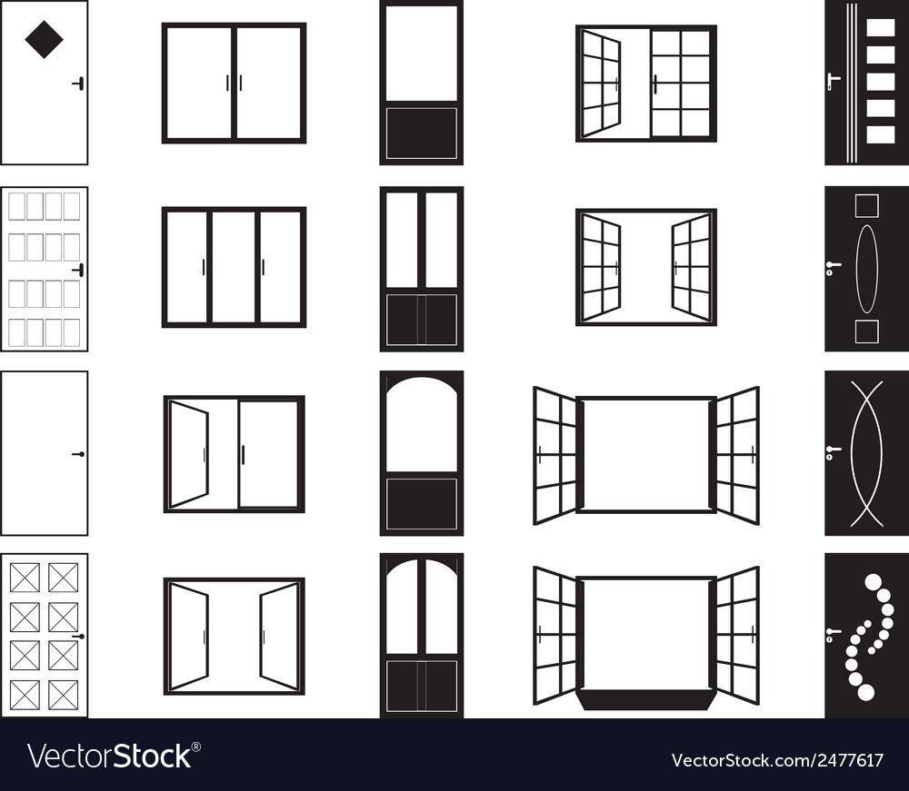 Door and window silhouettes vector | Price: 1 Credit (USD $1)
