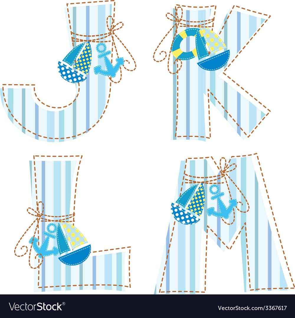 Fabric patchwork alhabet letter j k l m vector | Price: 1 Credit (USD $1)