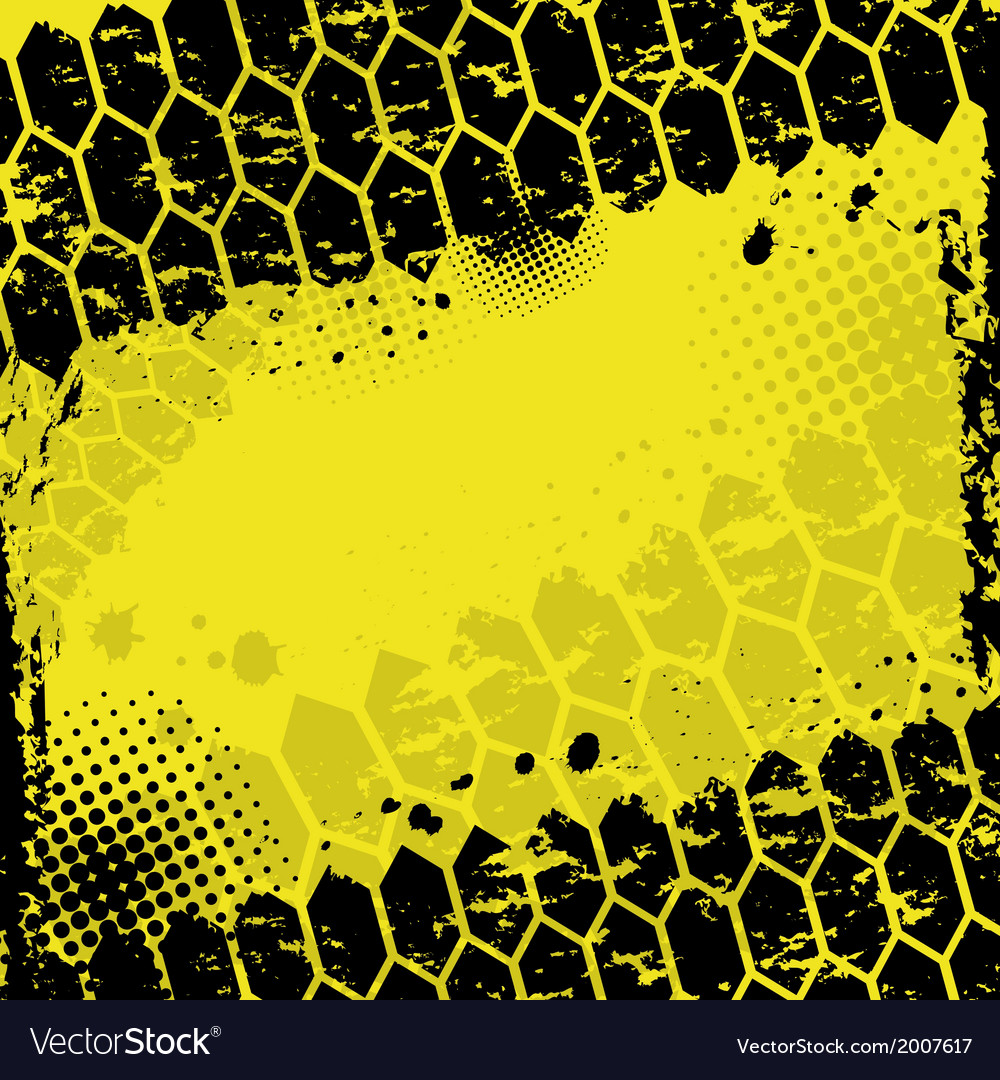 Grunge yellow tire track background vector | Price: 1 Credit (USD $1)