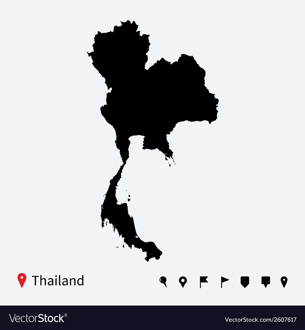 High detailed map of thailand with navigation pins vector | Price: 1 Credit (USD $1)