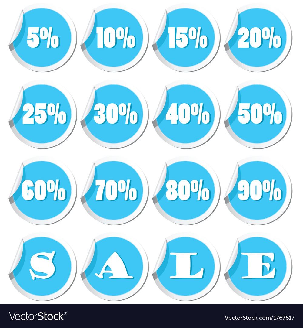 Sale set blue vector | Price: 1 Credit (USD $1)