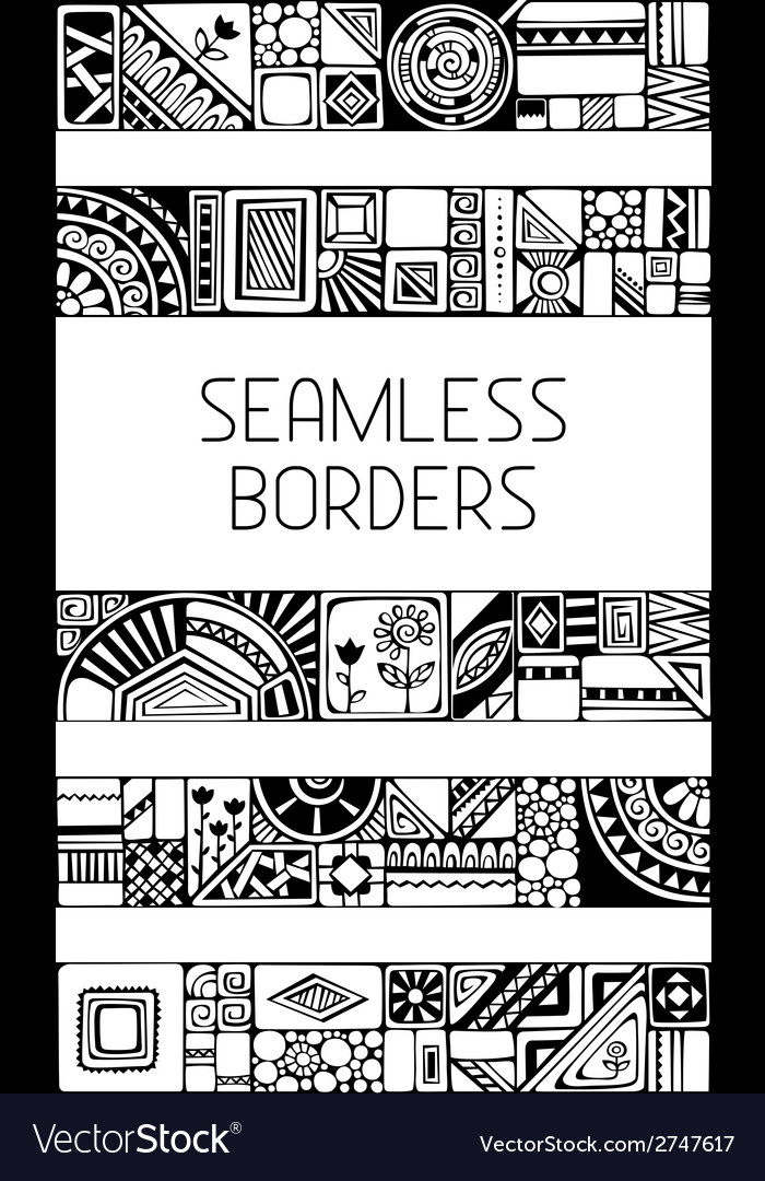 Set of seamless geometric borders vector | Price: 1 Credit (USD $1)