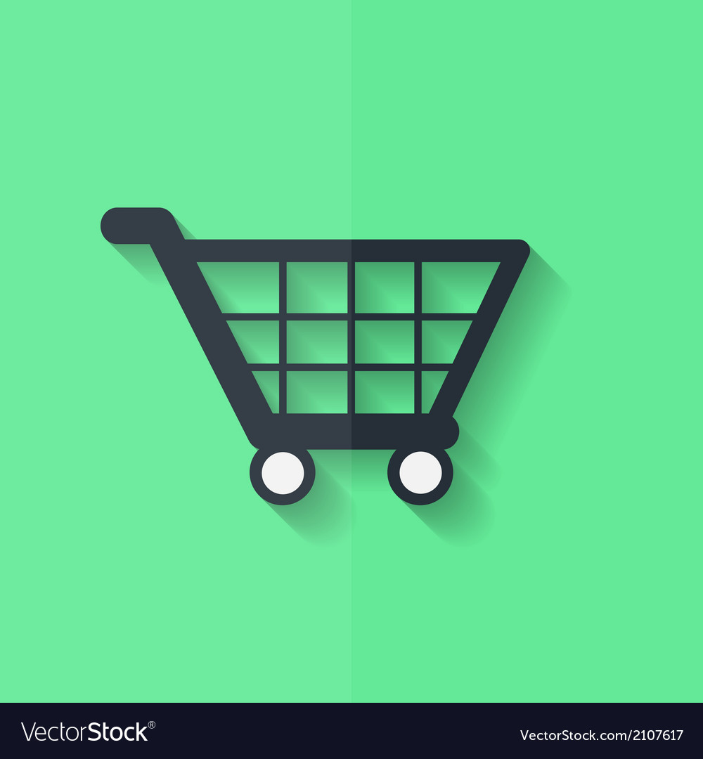 Shopping basket icon flat design vector | Price: 1 Credit (USD $1)