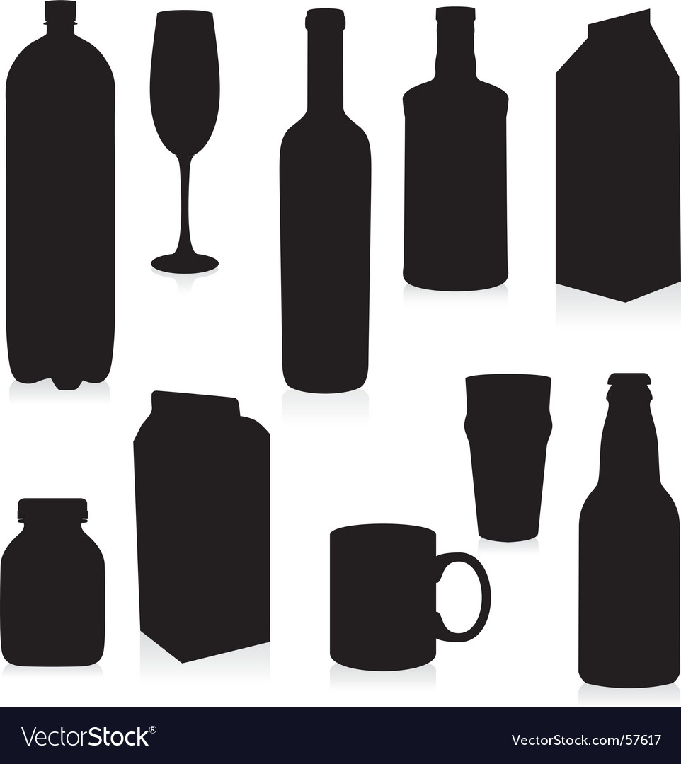 Silhouettes drink containers vector | Price: 1 Credit (USD $1)