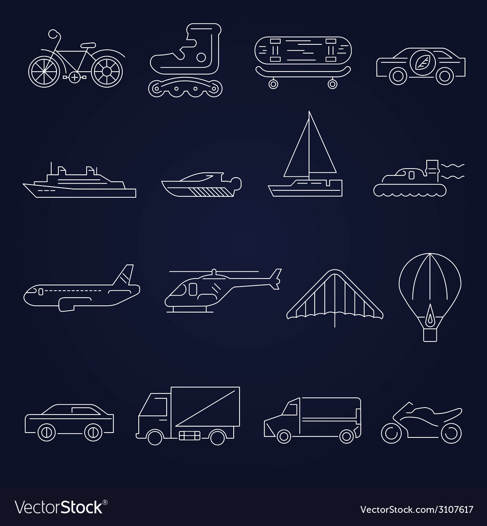 Transport icons outline set vector | Price: 1 Credit (USD $1)