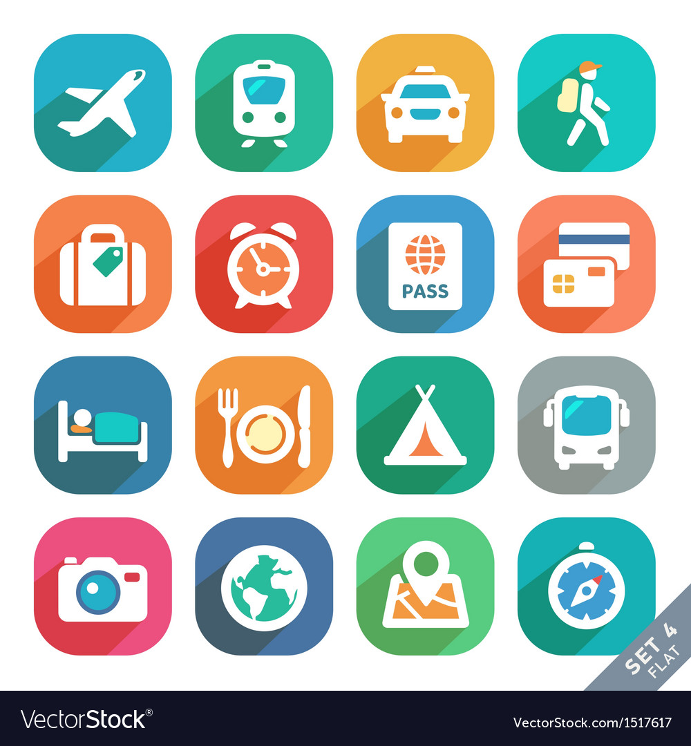 Traveling and transport flat icons vector | Price: 3 Credit (USD $3)