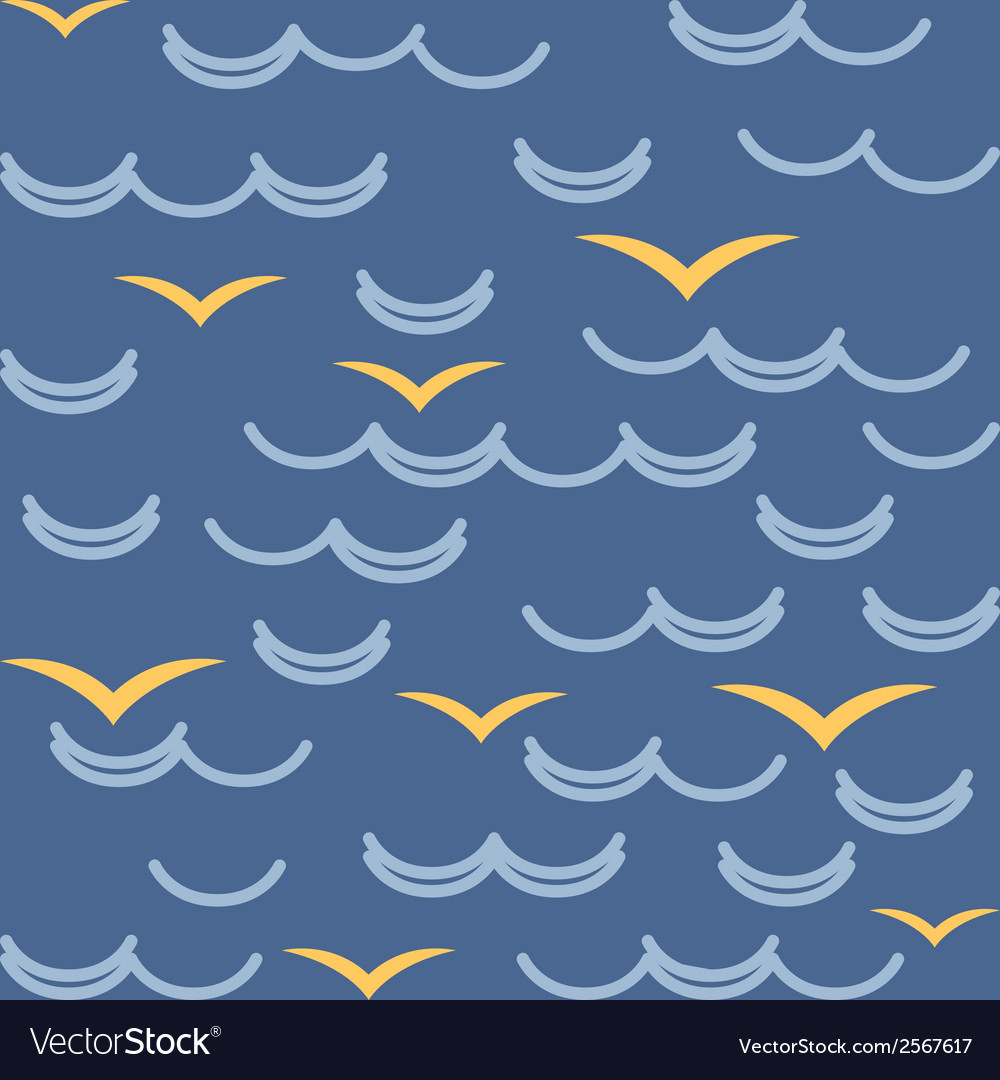 Waves and seagulls in blue colors seamless pattern vector | Price: 1 Credit (USD $1)