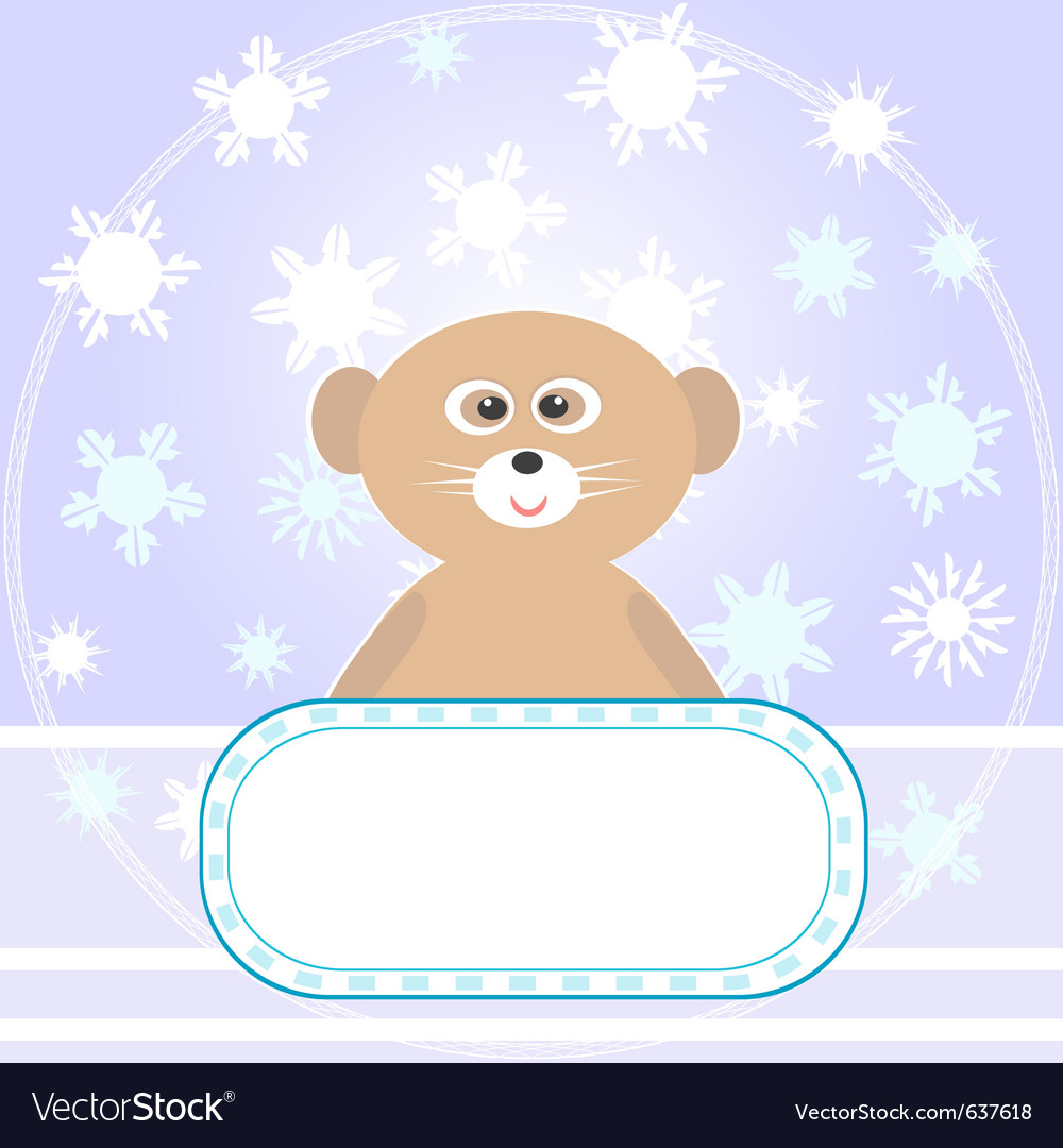 Baby bear greetings card vector | Price: 1 Credit (USD $1)