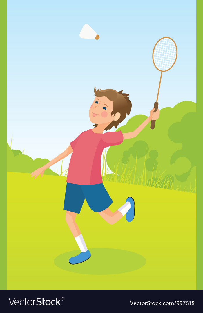 Boy playing badminton vector | Price: 3 Credit (USD $3)
