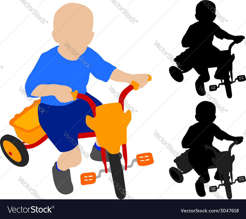 Child riding tricycle vector | Price: 1 Credit (USD $1)