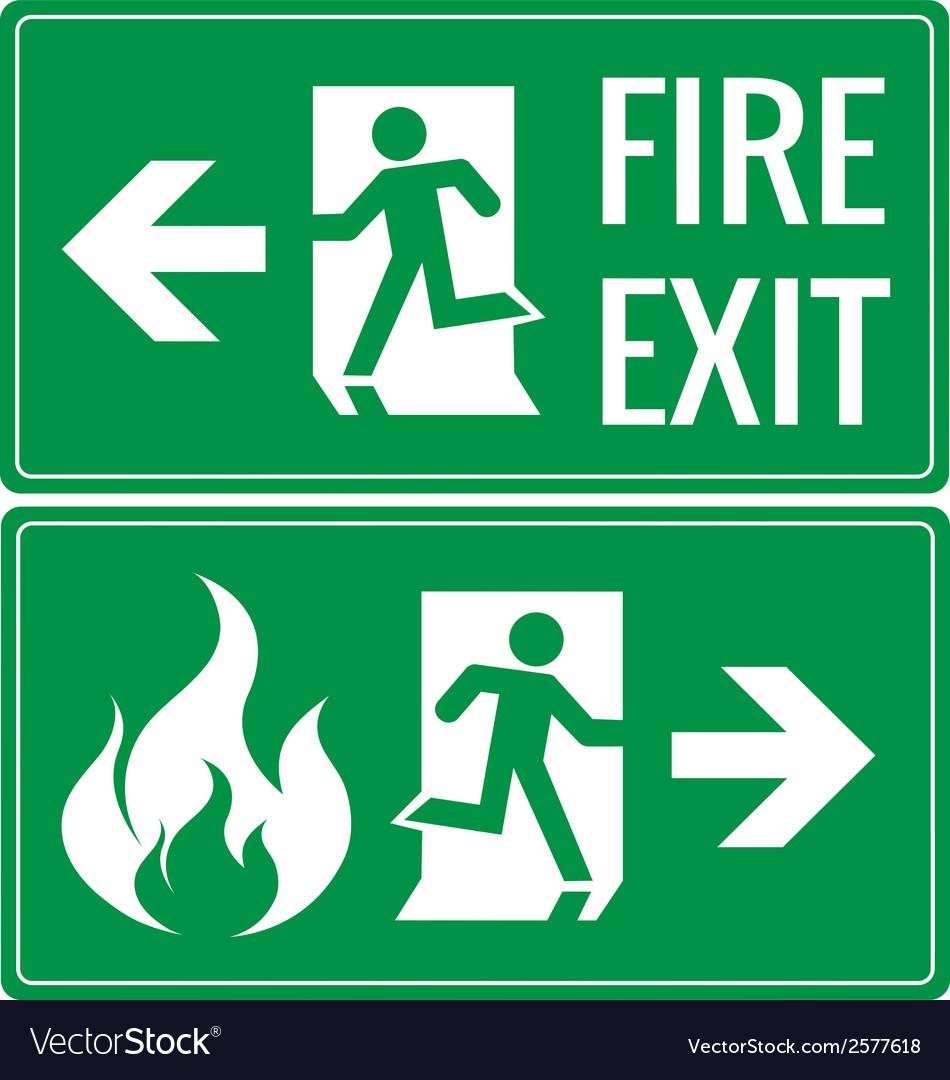 Emergency fire exit door signs vector