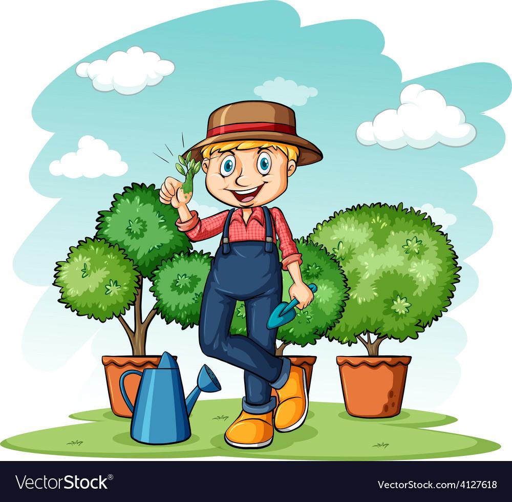 Gardener showing his thumb vector | Price: 3 Credit (USD $3)