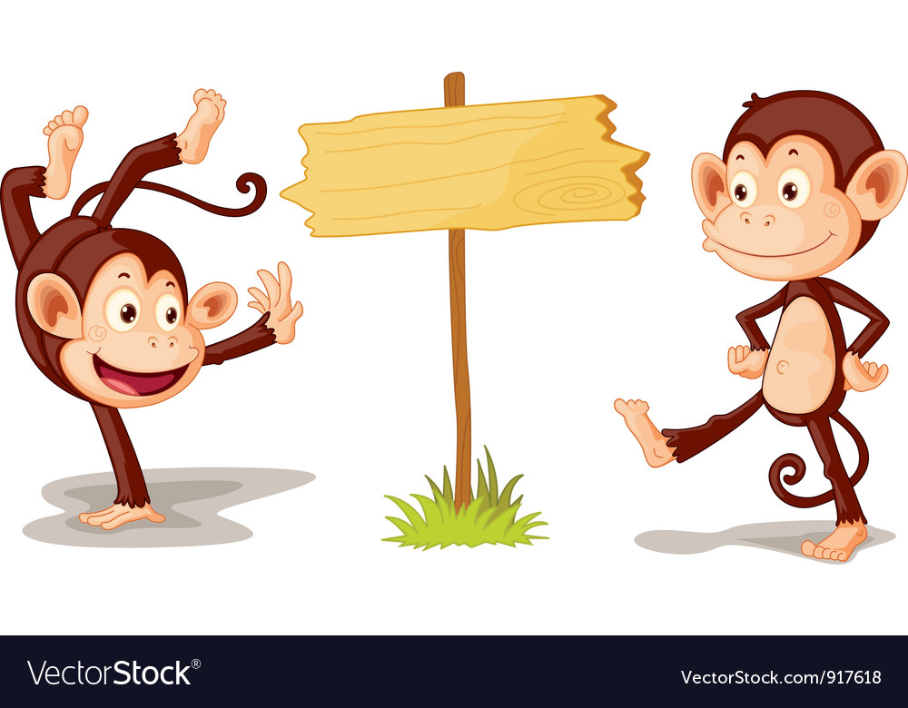 Monkeys with banner vector   Price: 3 Credit (USD $3)