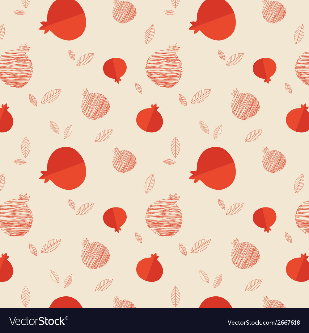 Pomegranate seamless pattern for rosh hashana vector | Price: 1 Credit (USD $1)