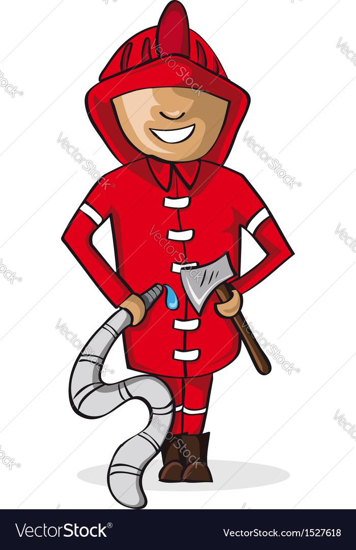 Profession fire man cartoon figure vector | Price: 1 Credit (USD $1)