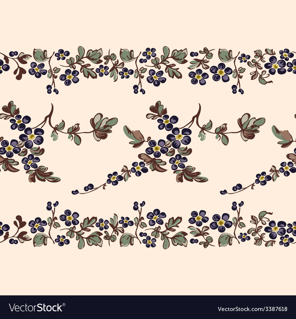 Seamless border floral pattern vector | Price: 1 Credit (USD $1)