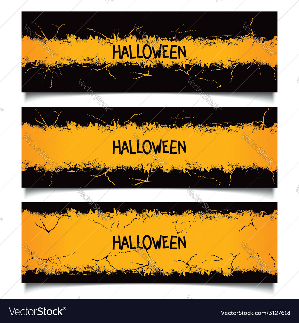 Set halloween grunge banners vector | Price: 1 Credit (USD $1)