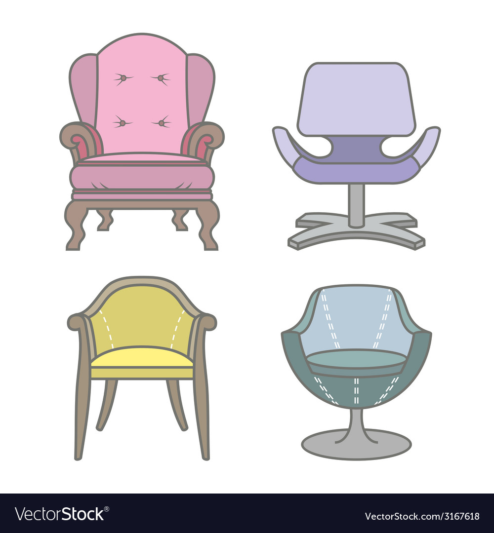 Set of colorfull armchairs vector | Price: 1 Credit (USD $1)