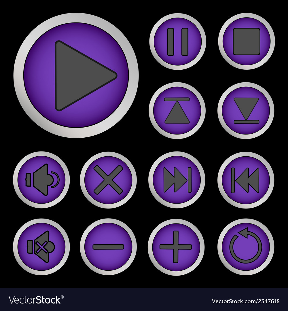 Set of neon buttons purple vector | Price: 1 Credit (USD $1)