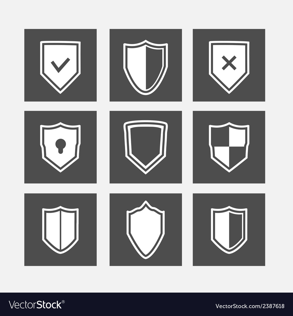 Shield flat icons set vector | Price: 1 Credit (USD $1)