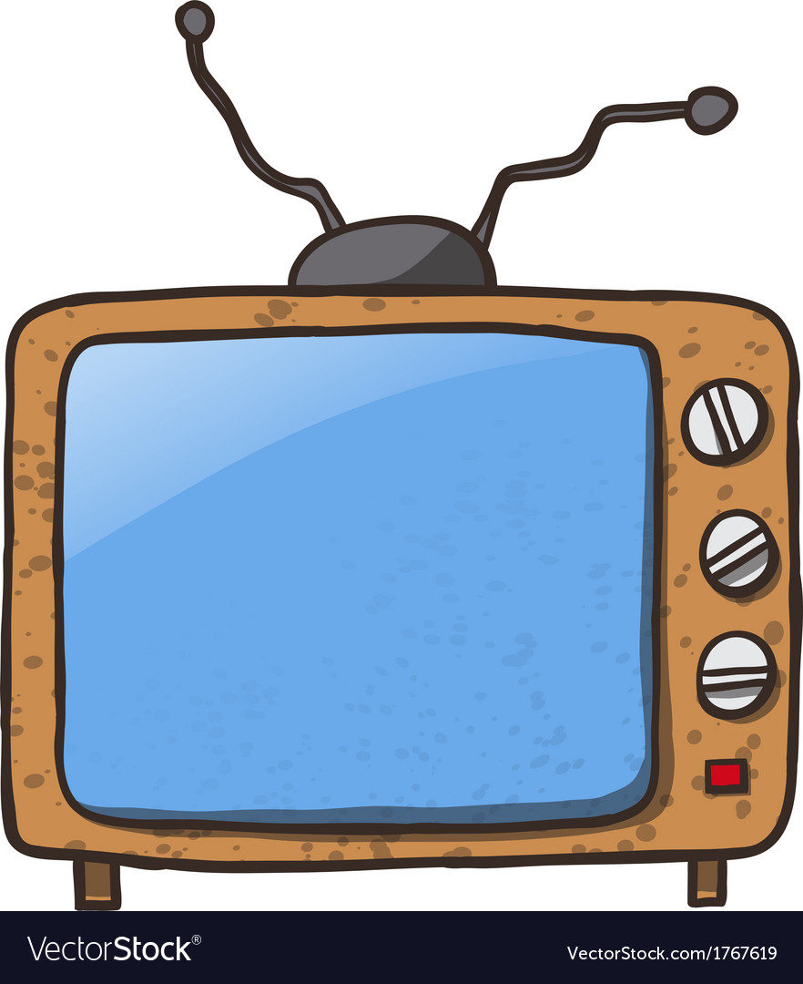 Cartoon home appliances old tv isolated on white vector | Price: 1 Credit (USD $1)