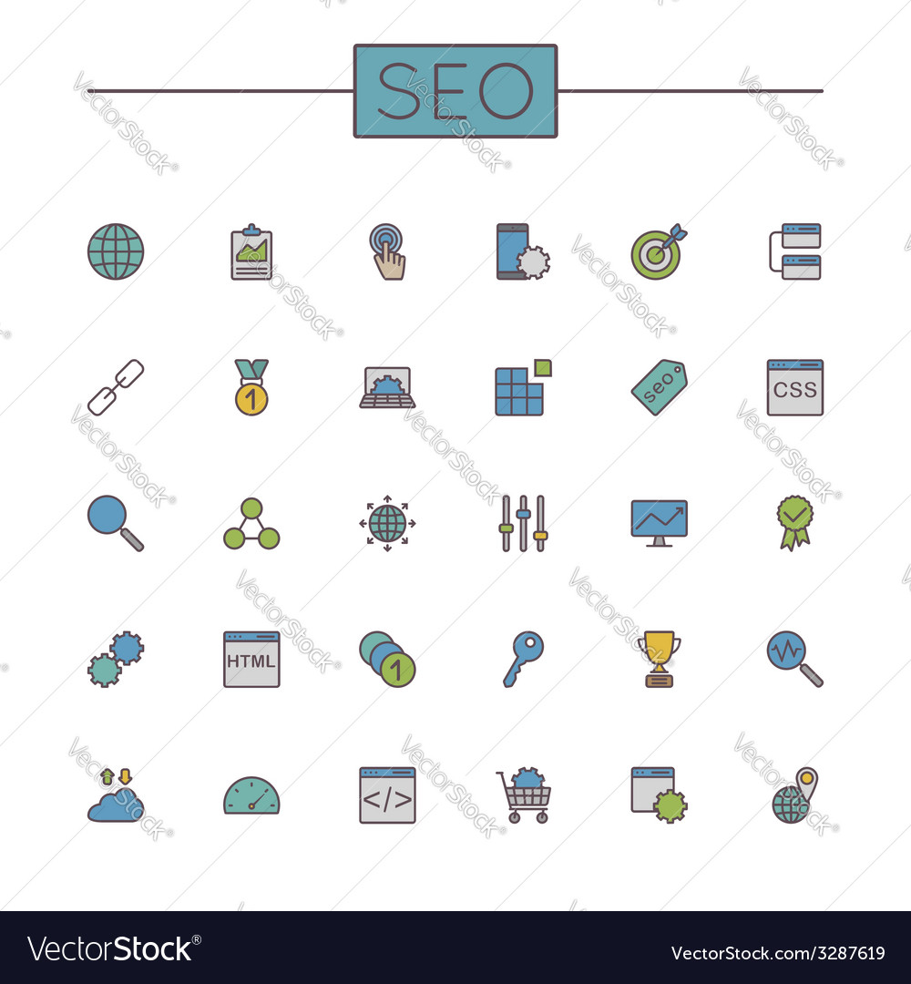 Colored seo line icons vector | Price: 1 Credit (USD $1)