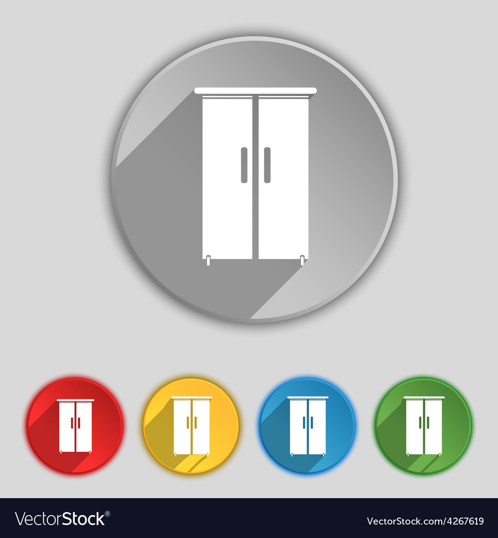 Cupboard icon sign symbol on five flat buttons vector   Price: 1 Credit (USD $1)