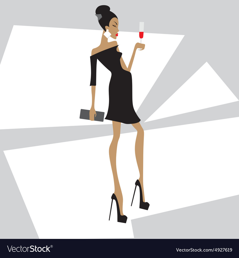 Girl in a black dress with a glass vector