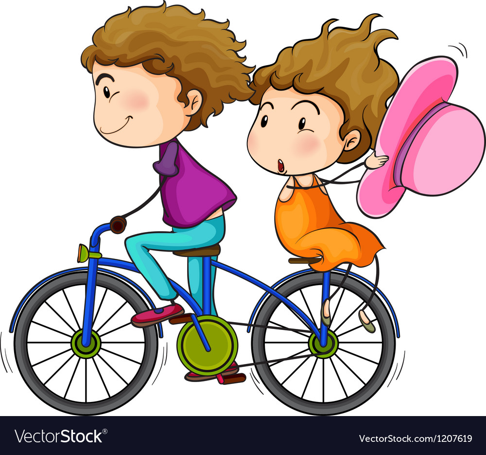 Lovers riding a bike vector | Price: 1 Credit (USD $1)