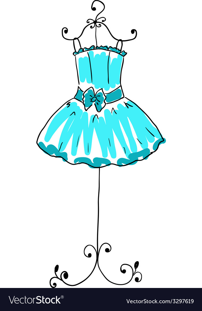 Magnificent blue dress on a hanger vector | Price: 1 Credit (USD $1)