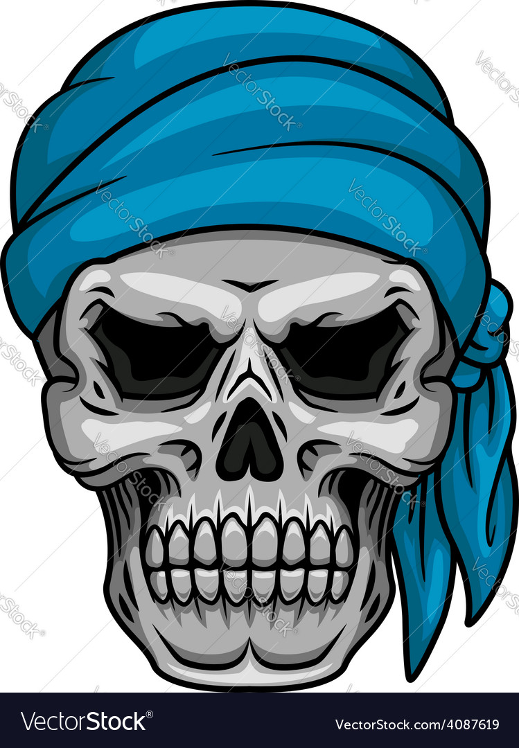 Pirate skull in blue bandana vector | Price: 1 Credit (USD $1)