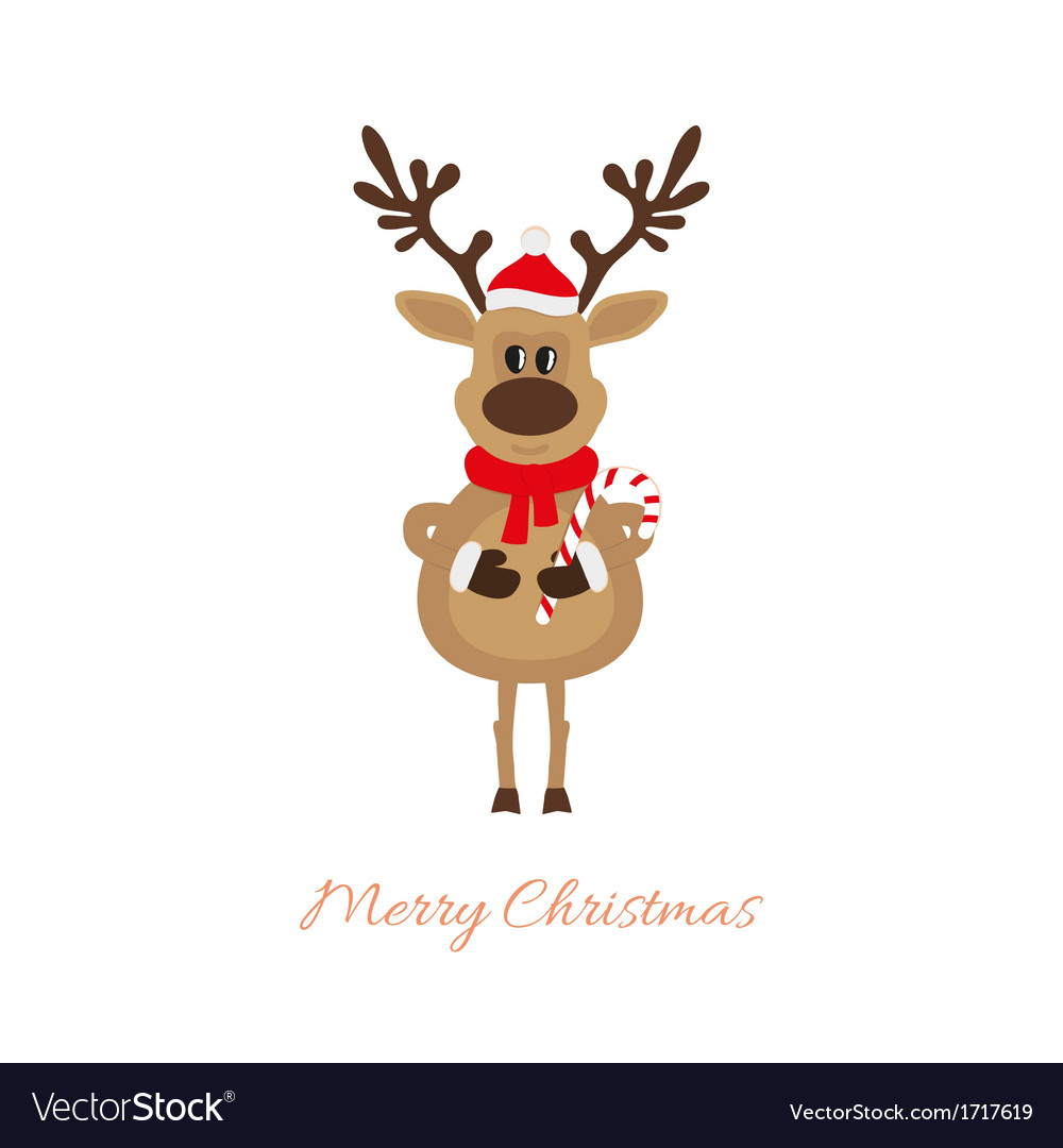 Reindeer of christmas with caramel cane vector | Price: 1 Credit (USD $1)