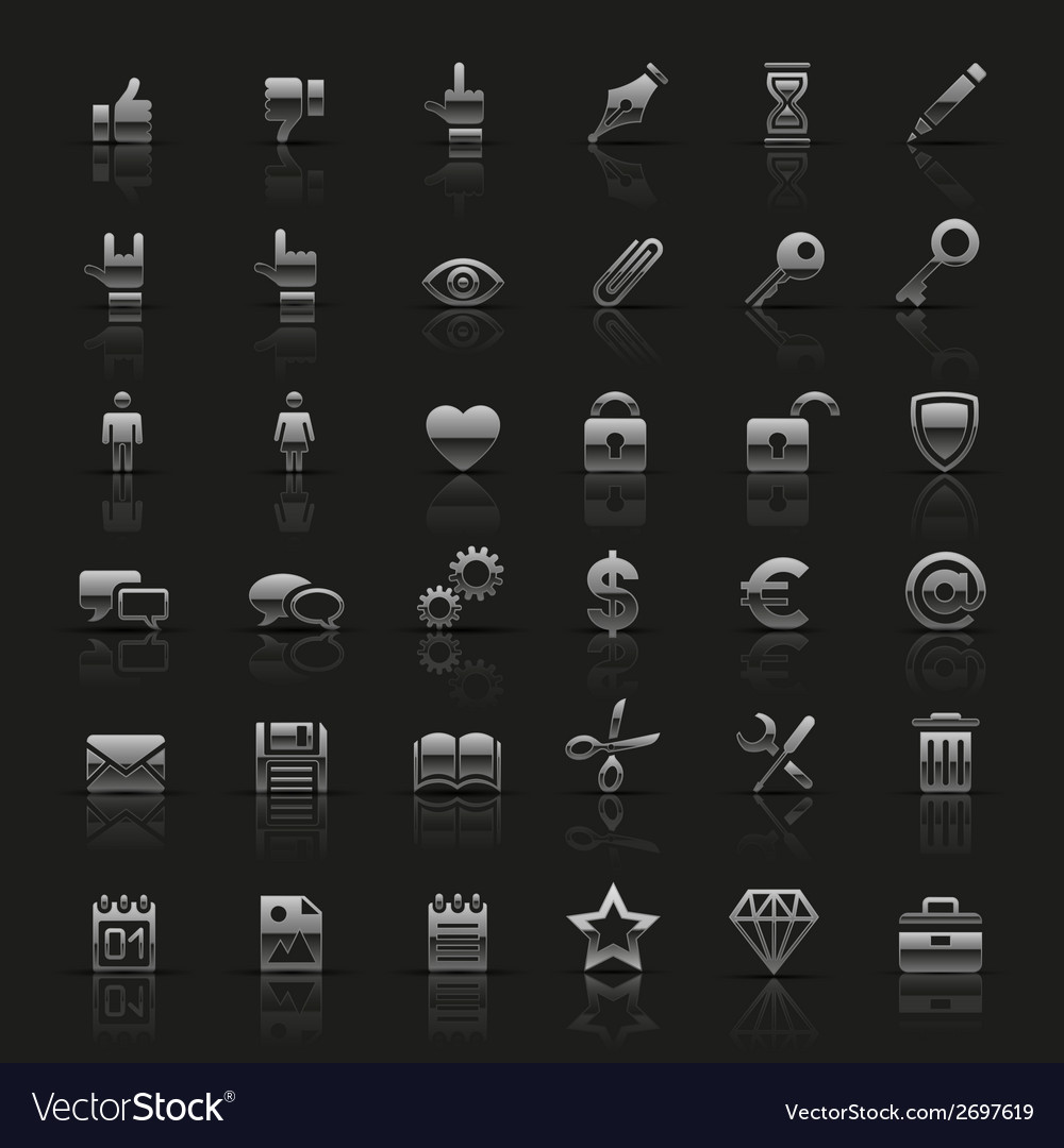 Set of universal silver icons vector | Price: 1 Credit (USD $1)