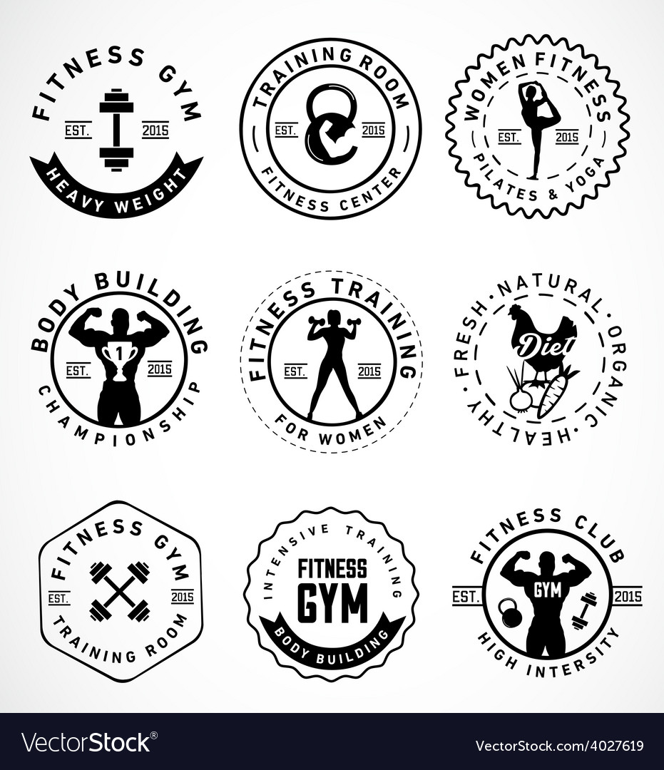 Sports and fitness badges in vintage style vector | Price: 1 Credit (USD $1)