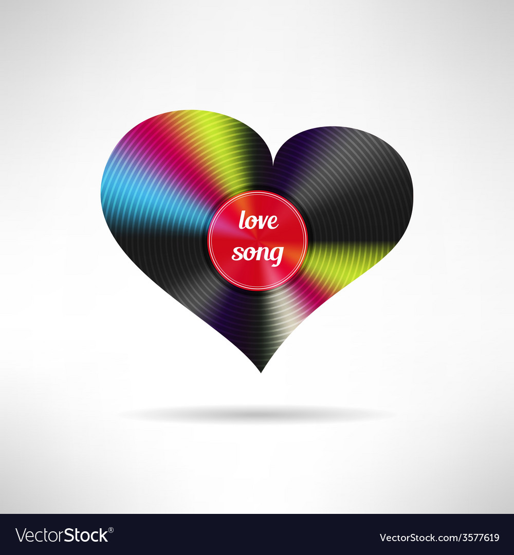 Vinyl heart shape love song vector | Price: 1 Credit (USD $1)