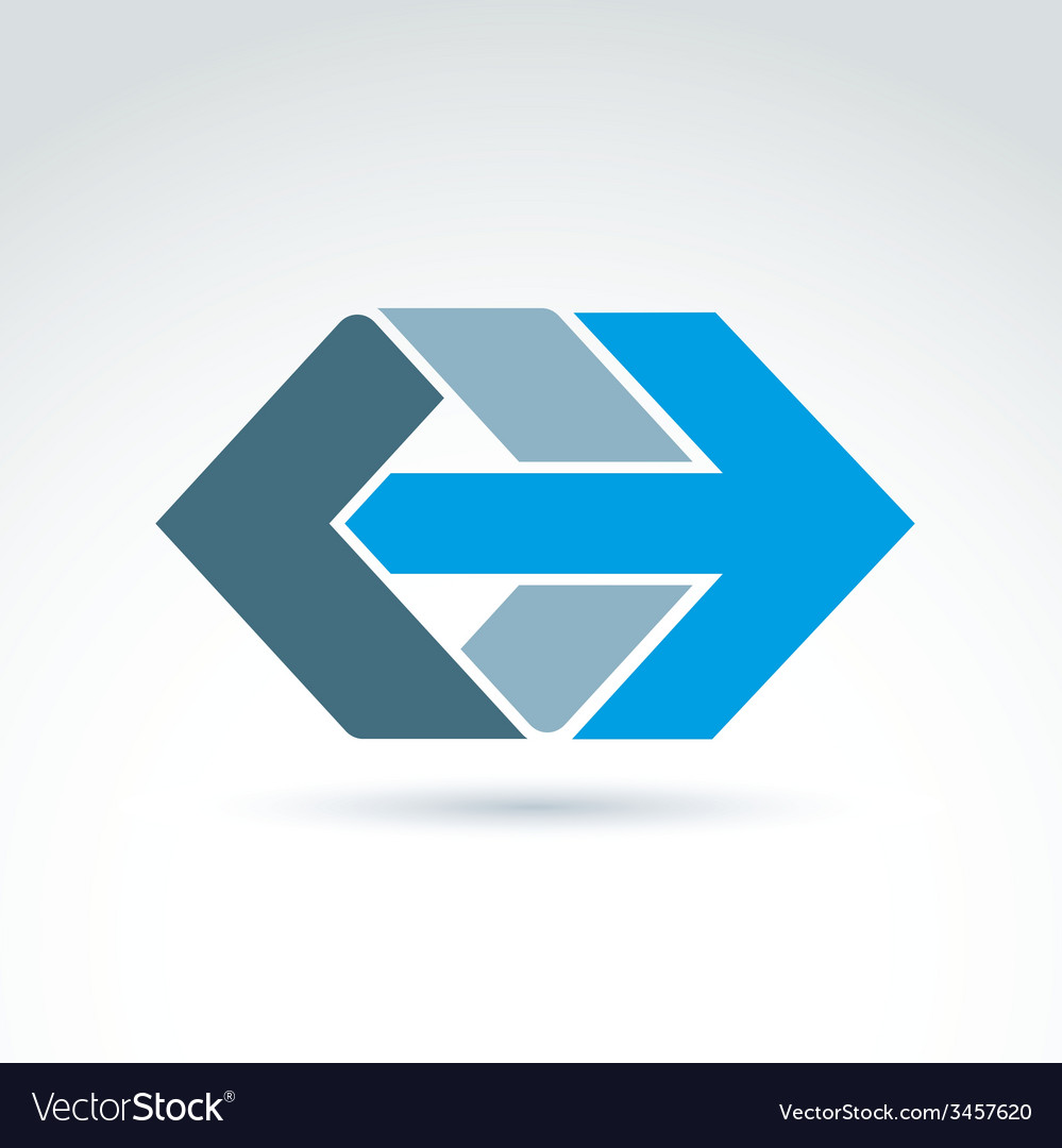 Abstract emblem with blue arrow  right direction vector | Price: 1 Credit (USD $1)
