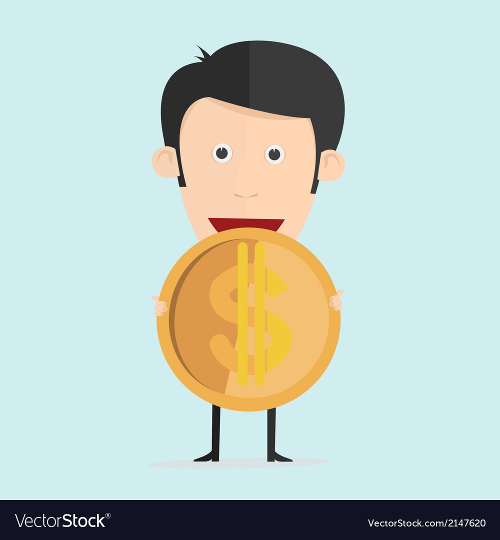 Cartoon with dollar coin in flat design vector | Price: 1 Credit (USD $1)