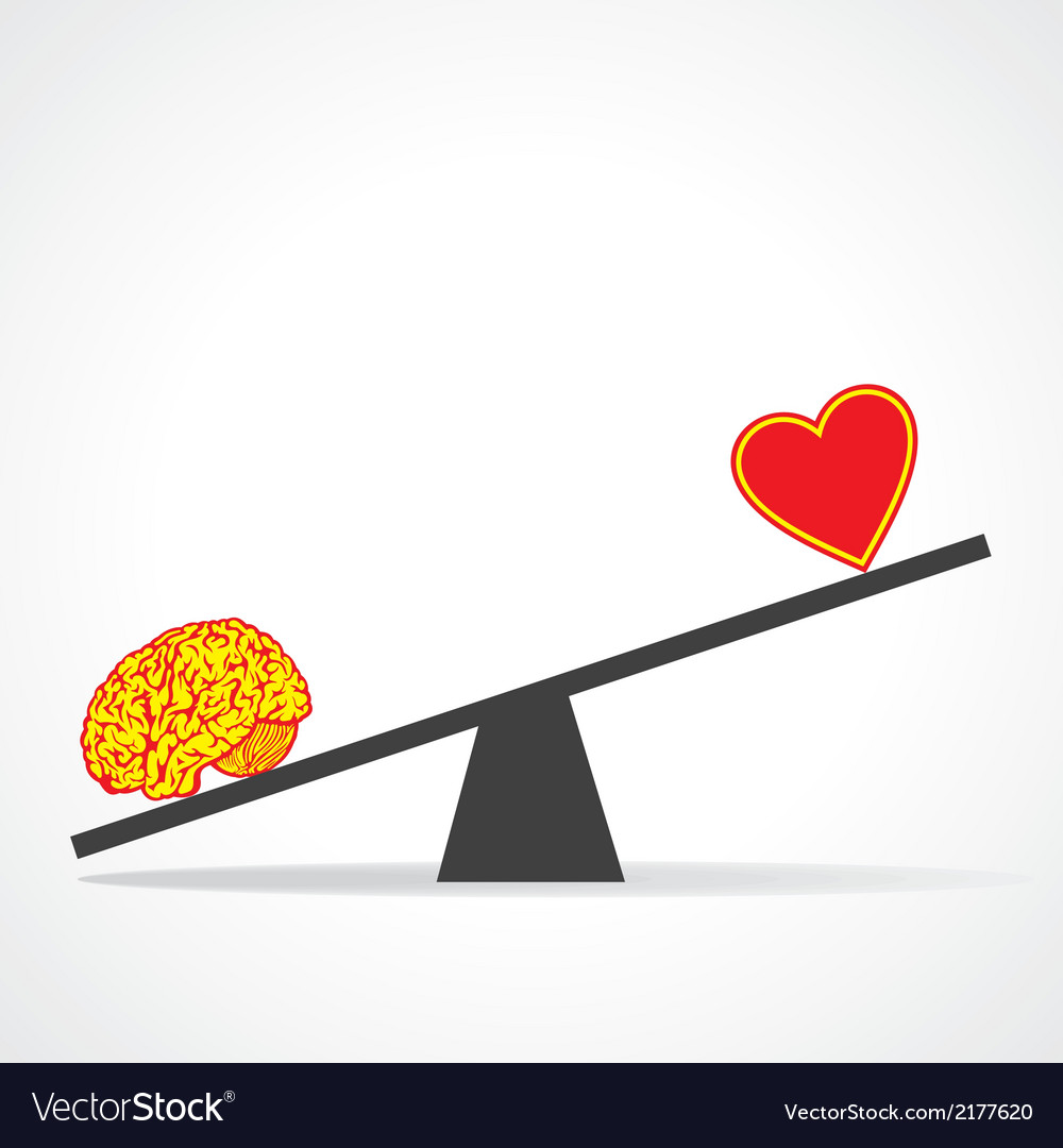 Compare mind with heart vector | Price: 1 Credit (USD $1)