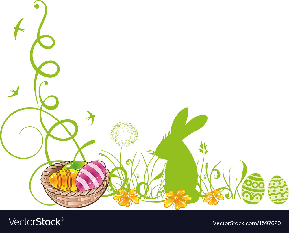 Easter meadow eggs bunny vector | Price: 1 Credit (USD $1)