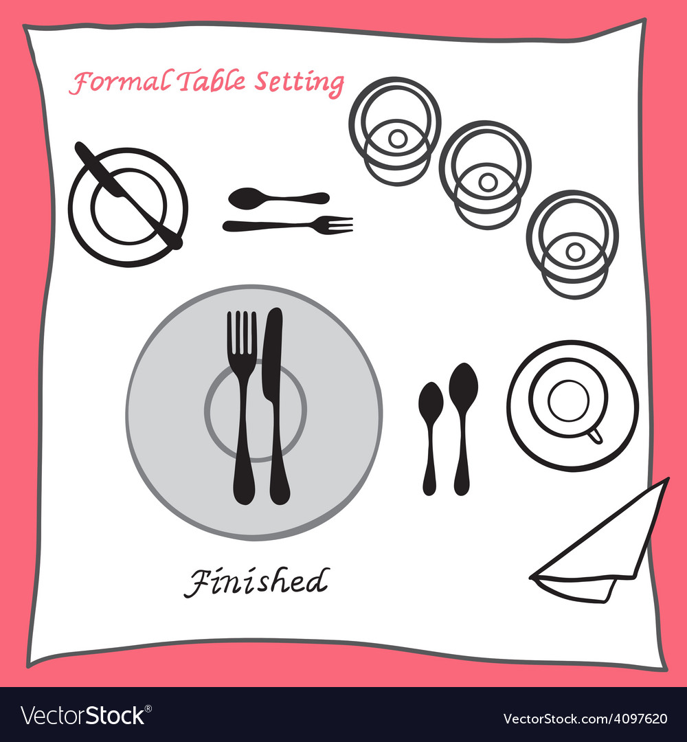Finished dining table setting proper arrangement vector | Price: 1 Credit (USD $1)