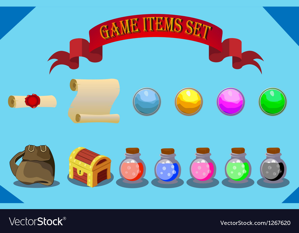 Game items set vector | Price: 1 Credit (USD $1)
