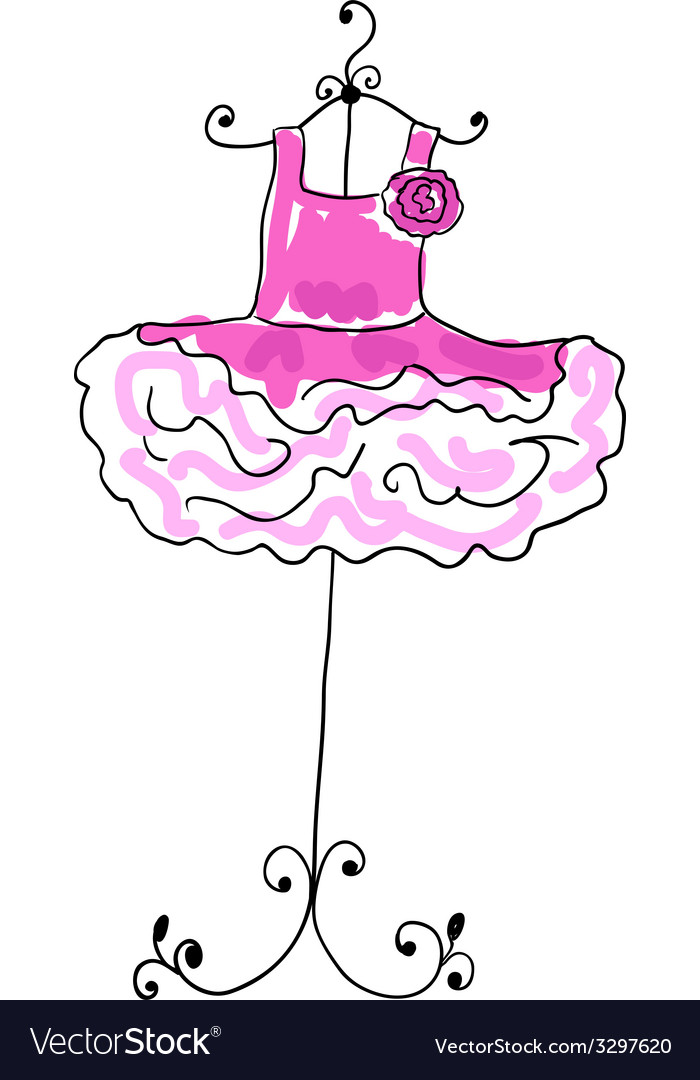 Magnificent pink dress with flounces on a hanger vector | Price: 1 Credit (USD $1)