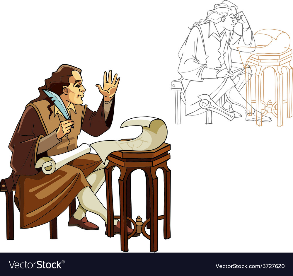 Medieval man with a pen and scrolls vector | Price: 3 Credit (USD $3)