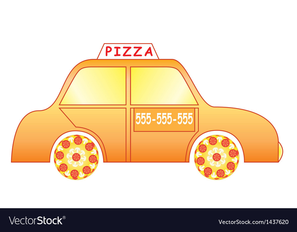 Pizza delivery car vector | Price: 1 Credit (USD $1)