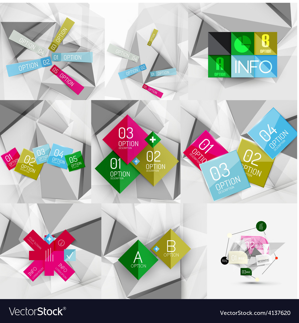 Set of paper graphic infographic modern template vector | Price: 1 Credit (USD $1)
