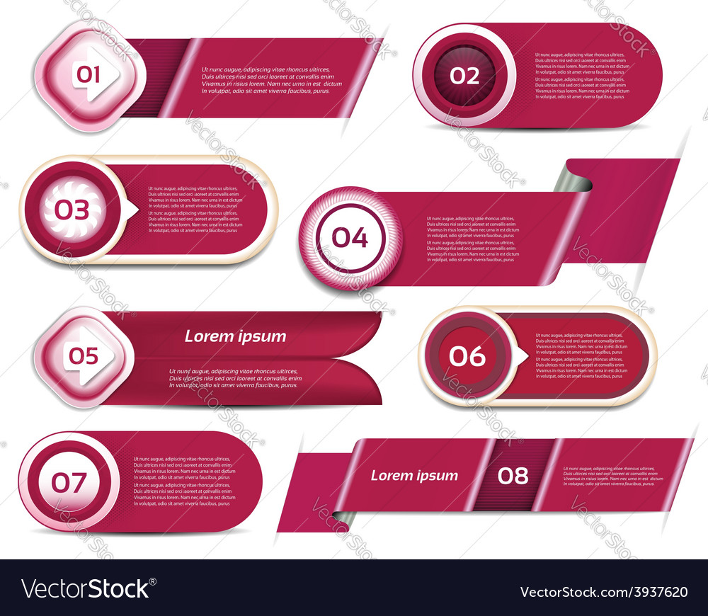 Set of redviolet progress version step icons eps vector