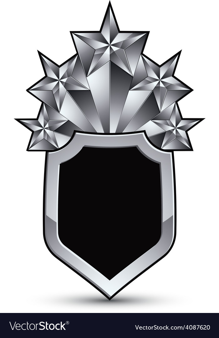 Sophisticated blazon with five silver stars vector | Price: 1 Credit (USD $1)